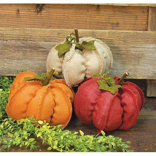 Medium Fabric Pumpkins, 3 asst. All Fall CWI+