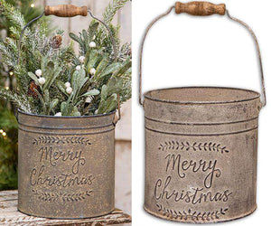 Merry Christmas Vintage Bucket Buckets & Cans CWI+