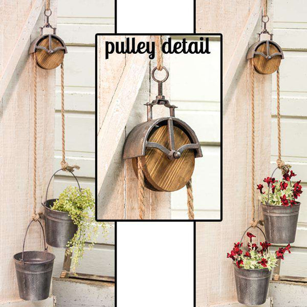 Metal Pulley w/ 2 Buckets Buckets & Cans CWI+
