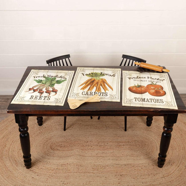 Farmer's Market Garden Veggie Unbleached Natural Muslin Tea Towel Set of 3 (Beets; Carrots; Tomato)