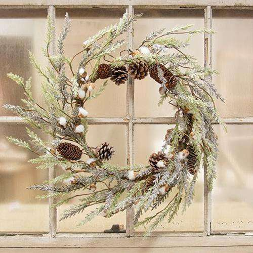 "Mini Cotton & Pine Wreath, 22"" Christmas CWI Gifts"