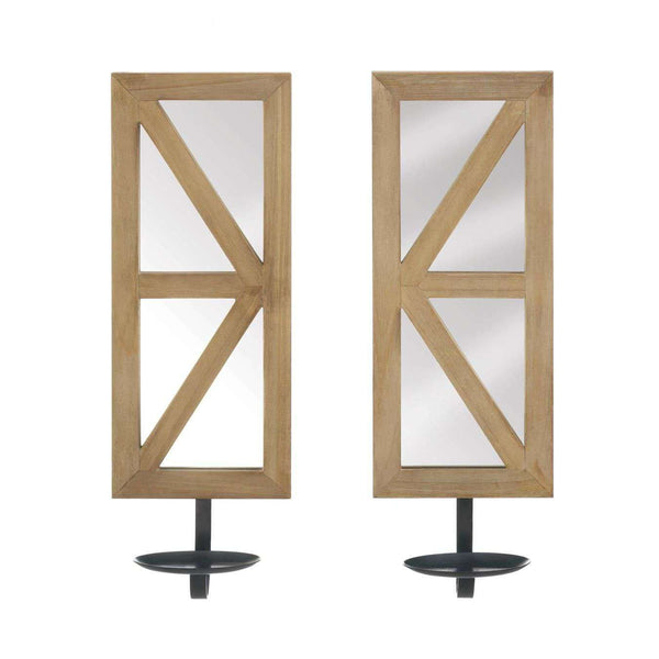 Mirrored Wood Candle Sconce Set Accent Plus