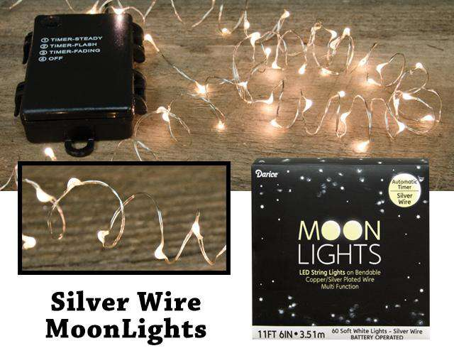 MoonLights 60 ct - Battery Operated - Silver Wire Light Strands CWI+