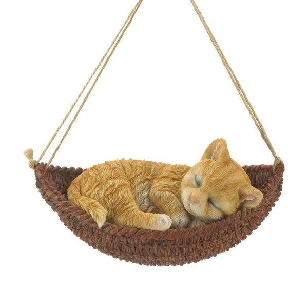 Napping Cat On Hammock Figurine