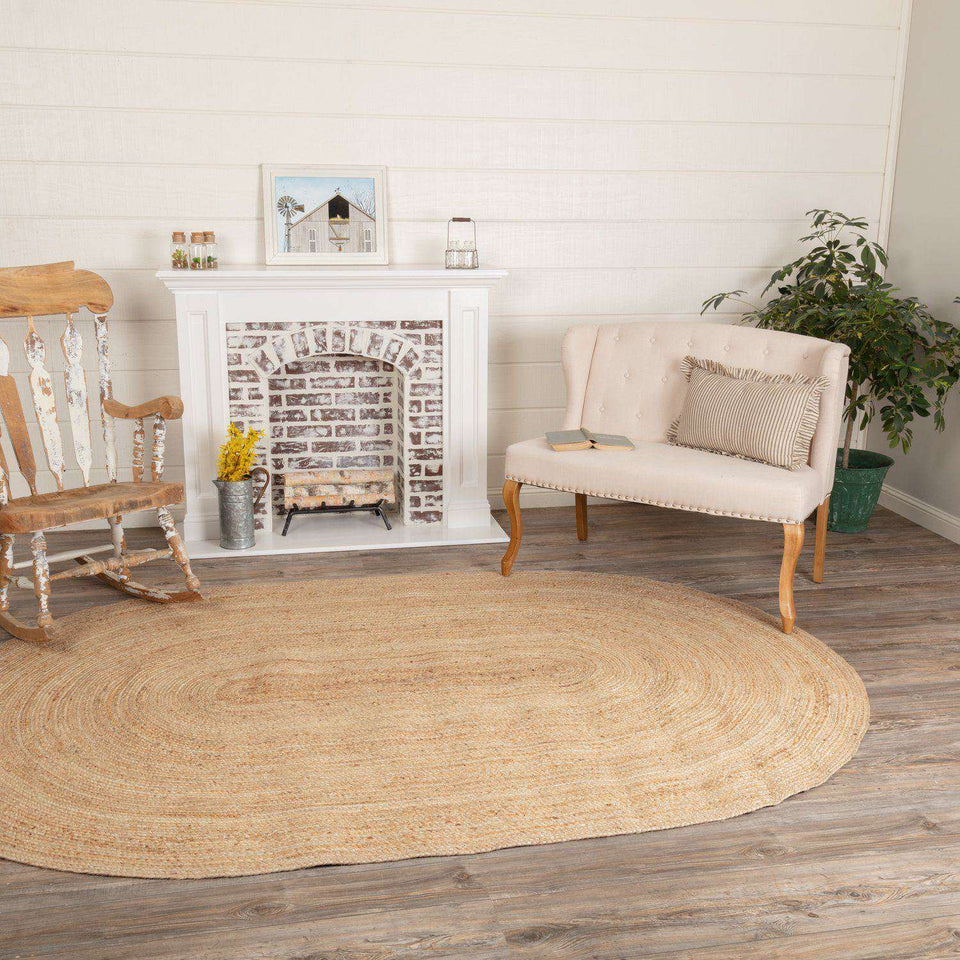 Natural Jute Rugs Oval VHC Brands Rugs VHC Brands 6 x 9'