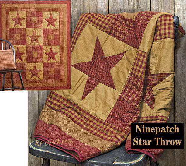 Ninepatch Quilted Throw Quilted Throw VHC Brands
