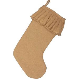 Festive Natural Burlap Ruffled Stocking 11x20 VHC Brands