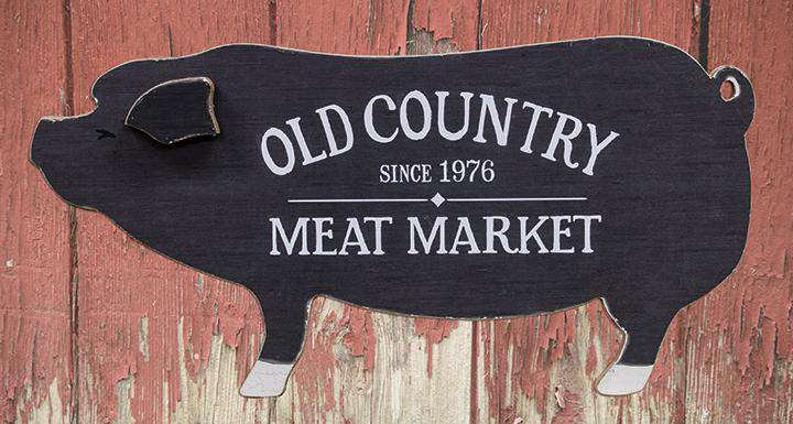 Old Country Meat Market Wooden Pig Kitchen Blocks & Signs CWI+