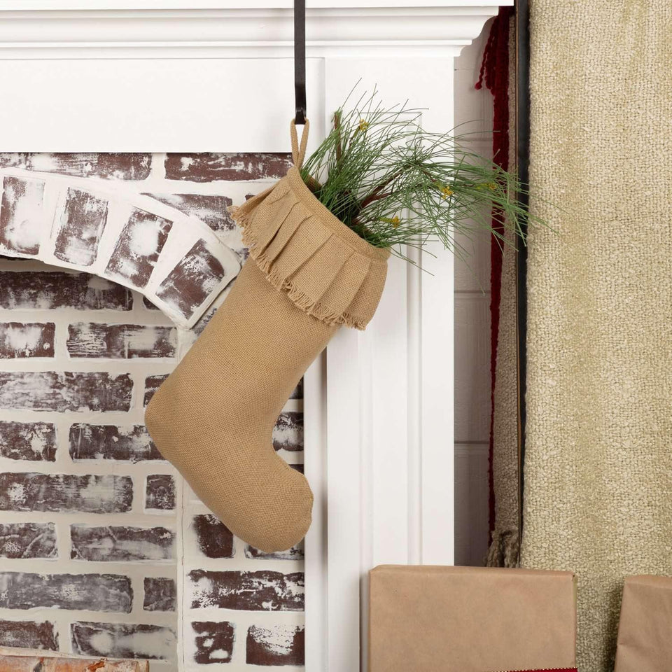 Festive Natural Burlap Ruffled Stocking 11x15