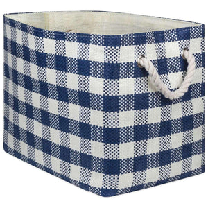 Paper Bin Checkers Navy Rectangle Large 17X12X12