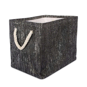 Paper Bin Lurex Black/Silver Rectangle Medium 15X10X12