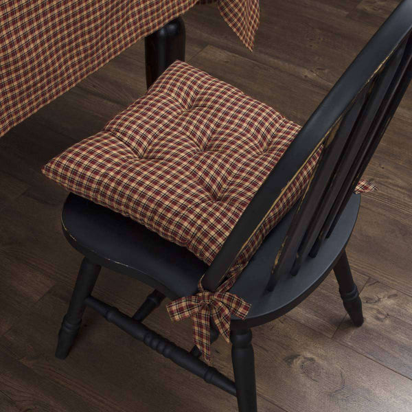 Patriotic Patch Plaid Country Chair Cushion Chair Pad VHC Brands