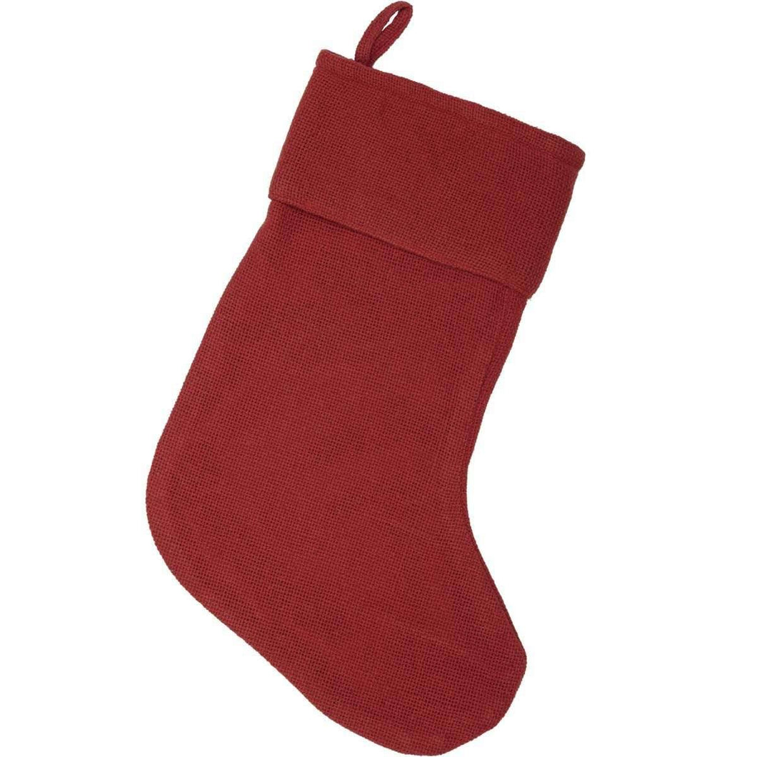 Festive Red Burlap Stocking 11x15 VHC Brands