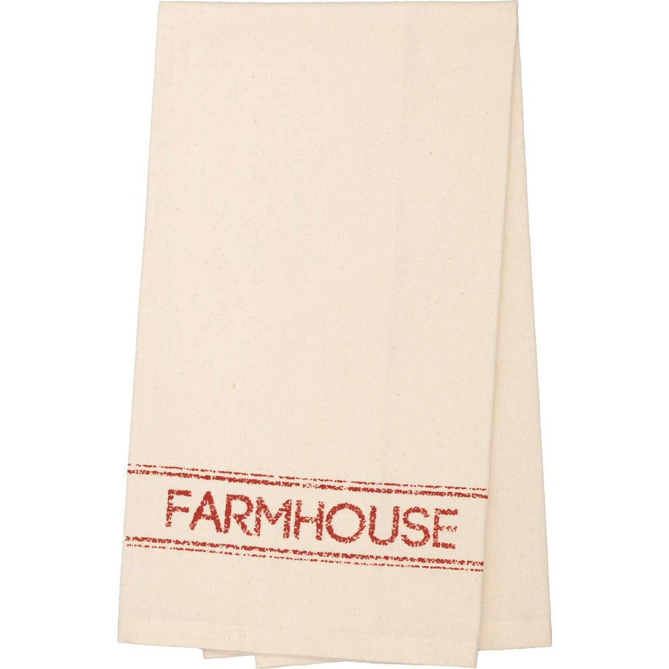 Sawyer Mill Red Farmhouse Muslin Unbleached Natural Tea Towel 19x28 VHC Brands
