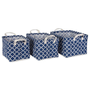 PE Coated Cotton/Poly Laundry Bin Lattice Nautical Blue Rectangle Asst Small Set/3