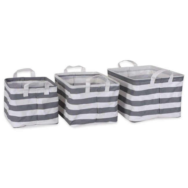 PE Coated Cotton/Poly Laundry Bin Stripe Gray Rectangle Asst Small Set/3
