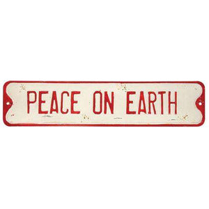 Peace on Earth Street Sign Vintage Christmas Decor CWI+