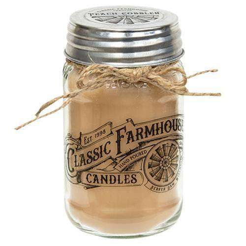 Peach Cobbler Classic Farmhouse Mason Jar Candle, 16oz New In March CWI+