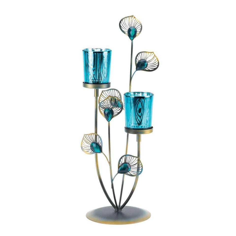 Peacock Plume Candle Holder