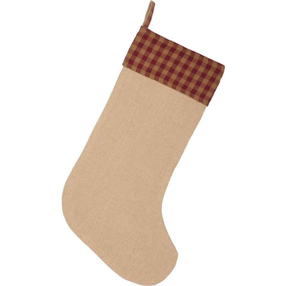 Burgundy Check Jute Stocking 12x20 VHC Brands