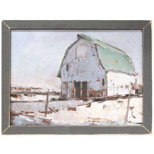 Plein Air Barn Framed Print, Grey Frame General CWI+