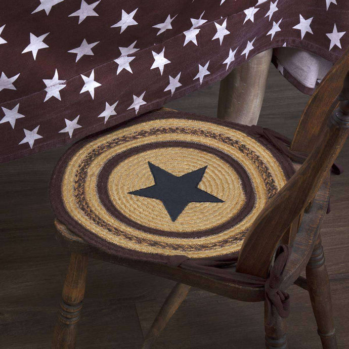 Potomac Jute Applique Star Braided Chair Pad Set of 6 Natural, Burgundy, Navy Chair Pad VHC Brands