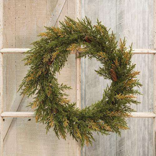 "Prickly Pine Wreath, Moss Green, 20"" General CWI+"