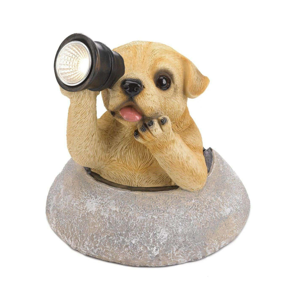 Puppy With Telescope Solar Light