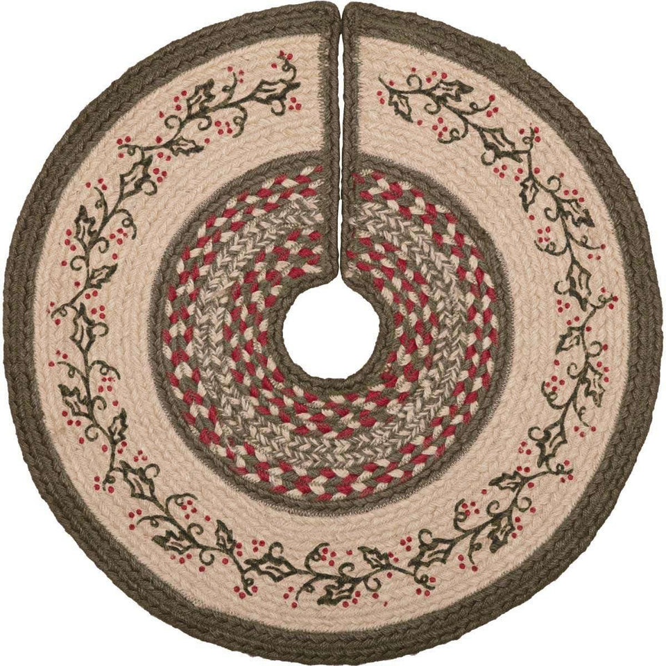 Holly Berry Jute Stencil Mini Christmas Tree Skirt 21 VHC Brands