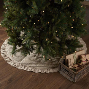 Sawyer Mill Charcoal Ticking Stripe Tree Skirt 55