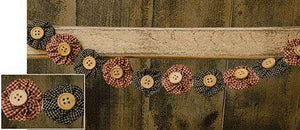Rag Garland w/ Wood Buttons Primitive Accents CWI+