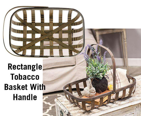 Rectangle Tobacco Basket With Handle Baskets CWI+