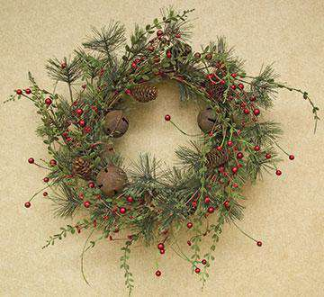 "Red Berry Pine Wreath, 22"" Christmas CWI+"