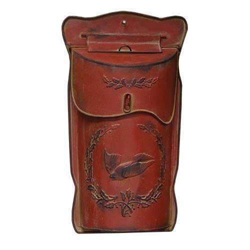 "Red Post Box w/Bird & Holly, 17"" Mail and Post Boxes CWI+"