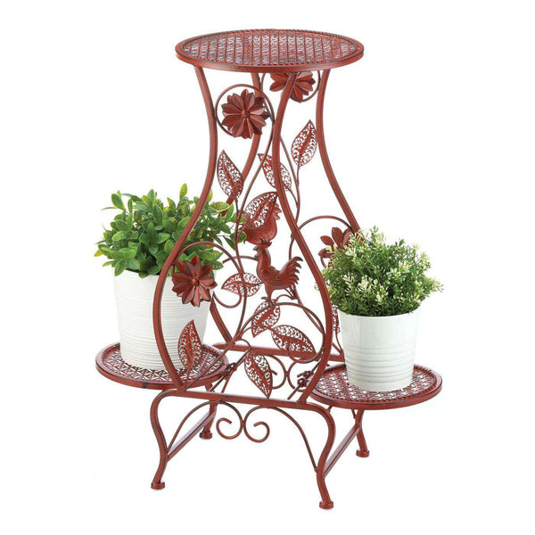 Red Rooster Hourglass Triple Plant Stand - The Fox Decor