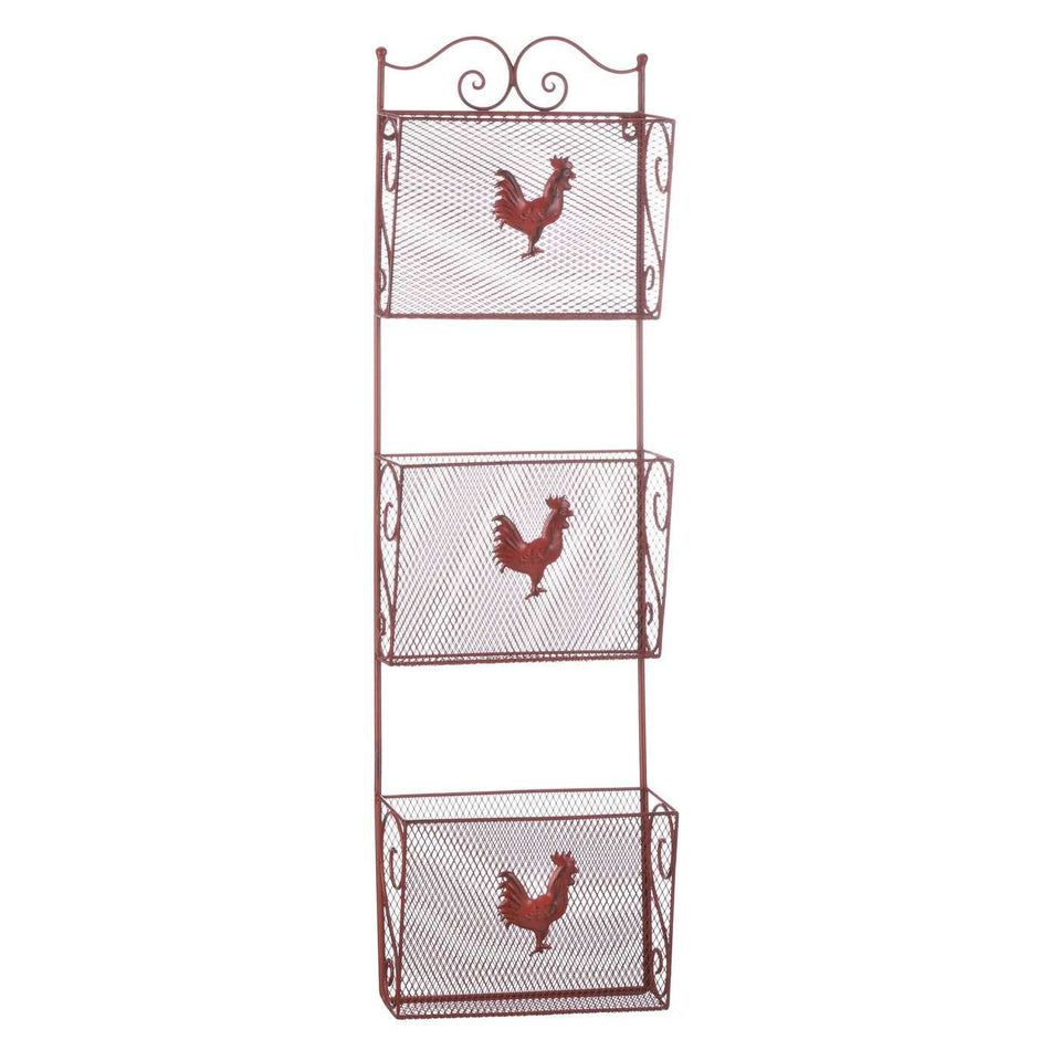 Red Rooster Triple Basket Organizer