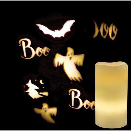 Remote Control Halloween Ghost Projection Pillar LED Pillar Candles CWI+