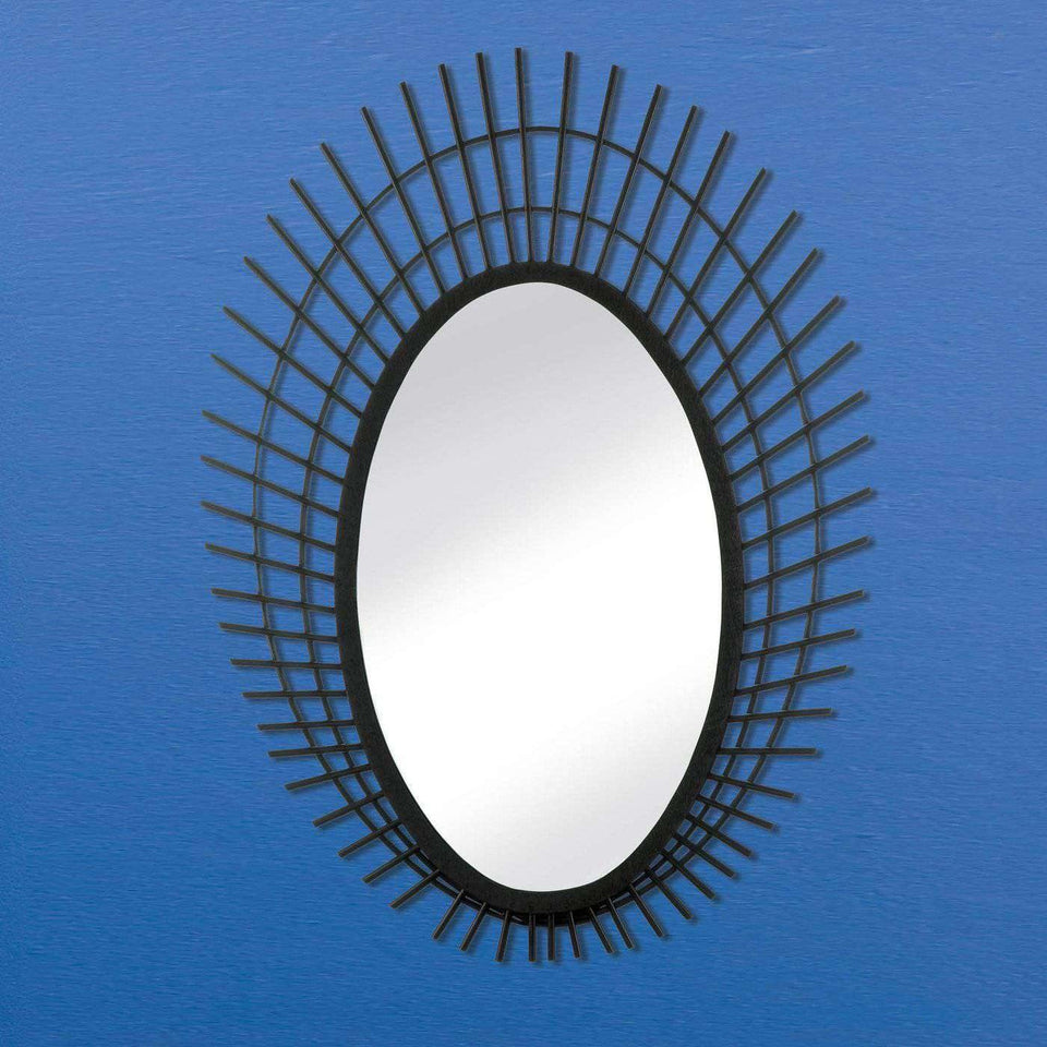 Riki Large Black Bamboo Mirror
