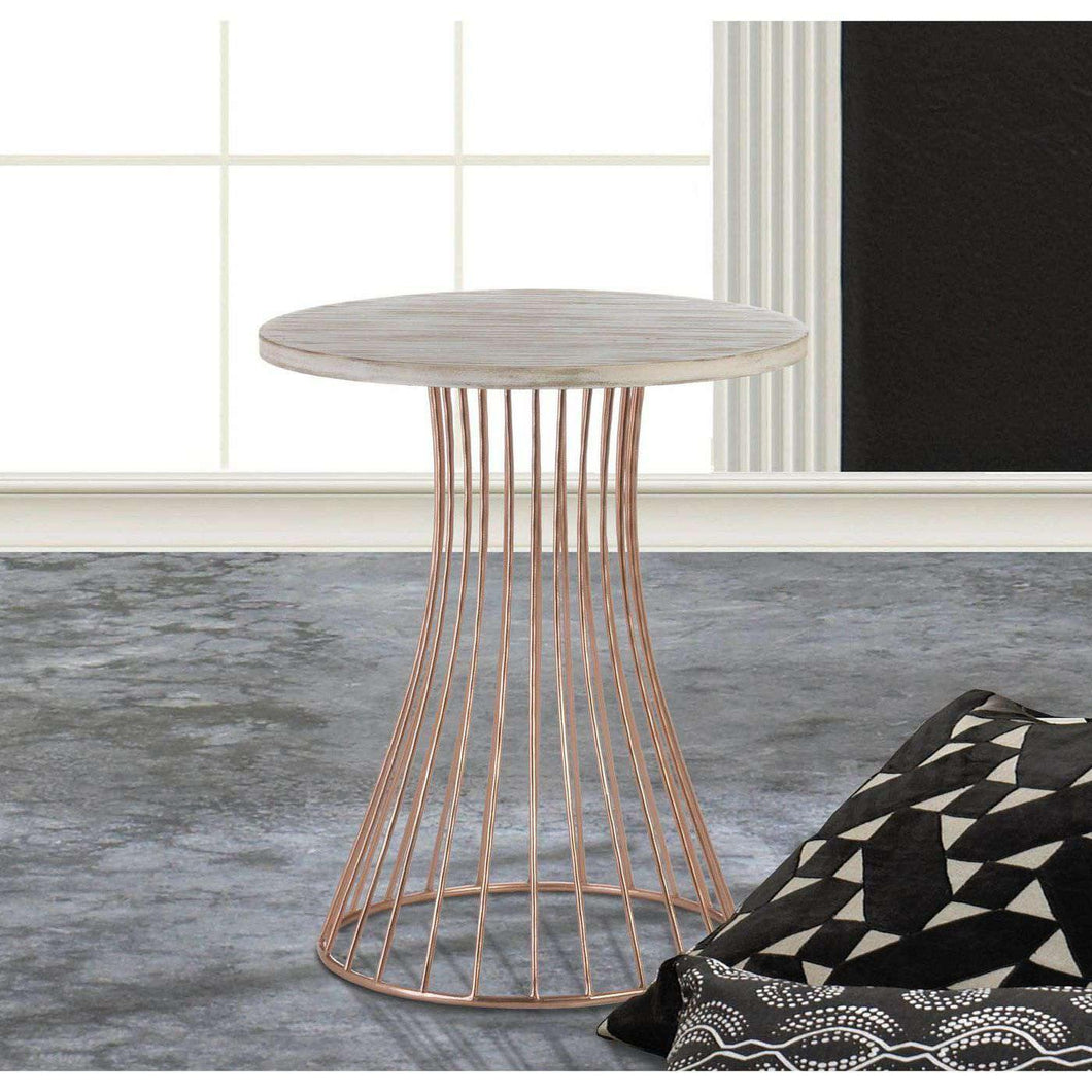 Rose Gold Base Circle Accent Side Table