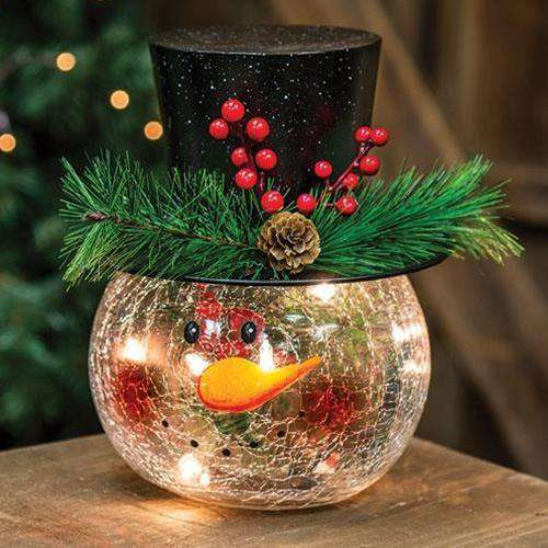 Round Lit Snowman Head Tabletop & Decor CWI+