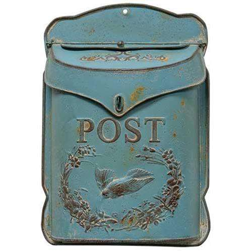 Rustic Blue Post Box Mail and Post Boxes CWI+