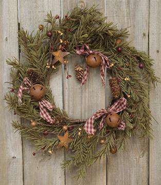 "Rustic Holiday Pine Wreath, 12"" Christmas CWI+"
