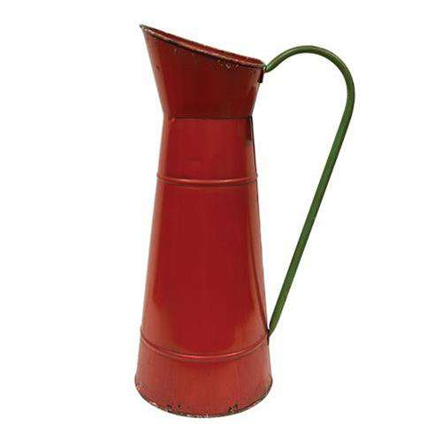 Rustic Red Carafe w/Green Handle Buckets & Cans CWI+