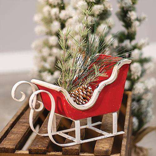 Rustic Red & White Sleigh Christmas Decor Vintage Christmas Decor CWI Gifts