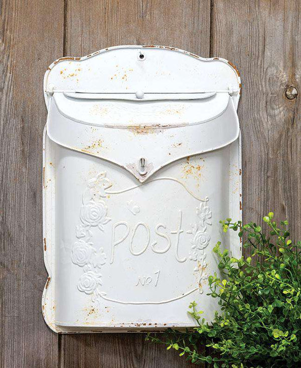 Rustic White Post Box Mail and Post Boxes CWI+