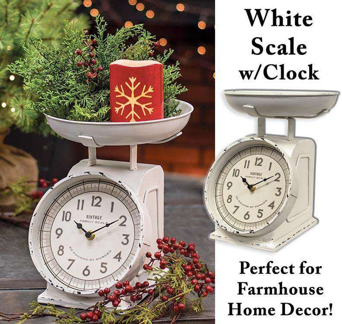 Rustic White Scale w/Clock Country Clocks CWI+