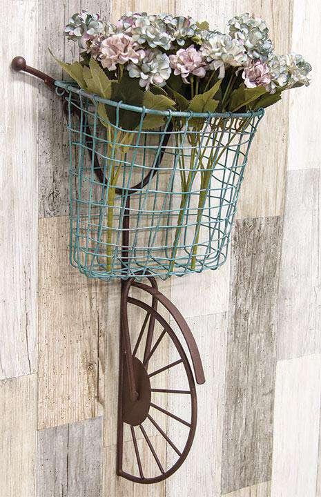 Rusty Wall Bike with Blue Wire Basket Tabletop & Decor CWI+