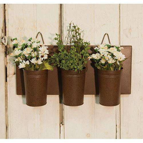 Rusty Wall Flower Holder Containers CWI+