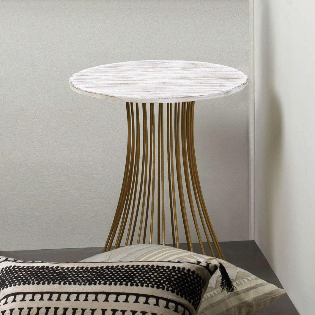 Santa Barbara Round Gold Accent Table