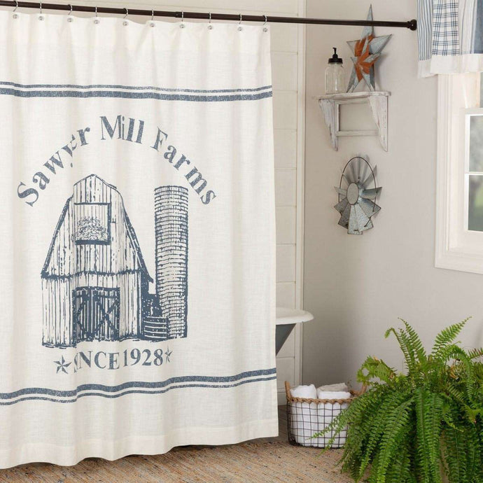 Sawyer Mill Blue Barn Shower Curtain 72
